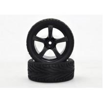 Absima 2510006 Wheel Set Onroad 5 Spoke/Profile Black 1/10 (4)