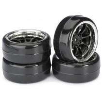 """Absima 2510043 Wheel Set Drift LP """" 9 Spoke / Profile B"""" black/chrome 1:10 (4 pc"""