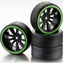 Absima Wheel Set Drift 9 Spoke Profile A (4) Rim Black/Ring Neon Green 2510049