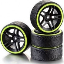 Absima 2510050 Wheel Set Drift 10- Spoke Profile B Rim black/Ring Neon Yellow