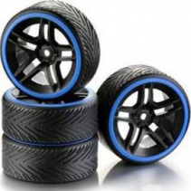 Absima Wheel Set Drift 10 Spoke Profile A Rim Black/Ring Blue (4) 2510051 1/10
