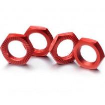 Absima 2560007 Hex Locknut 17mm Red (4)