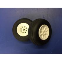 "Aeroplane 1.5"" (37mm) Wheels White (2)"