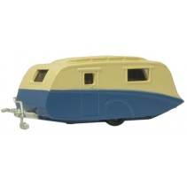 Cream/Blue Caravan 1:76 Diecast