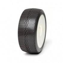 Kyosho 1:8 Buggy Tyres on EVO White Rims P1 Soft Long Wear x 2 AKA14021XRW