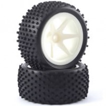 Fastrax 'Stub' 1/10th Off-Road Buggy Pre-Mounted Rear Tyres on 6 Spoke Wheels (2
