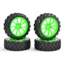 Fastrax 1/10 Street/Rally Tyre 10 Spoke Neon Green Wheel FAST0073G