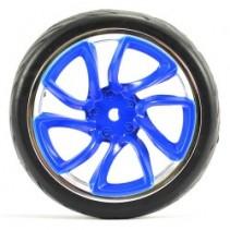 FASTRAX 1/10 STREET/TREAD TYRE TRI-5 BLUE/CHROME WHEEL FAST0088BLC
