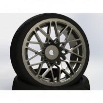 Fastrax 1/10 Street/Tread Tyre Star Spoke Gun Metal Wheel FAST0089GM