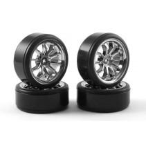 Fastrax 1/10th Street Wheel/ Drift Tyres 10-Spoke Chrome FAST0090C
