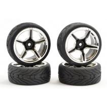 Fastrax 1/10 Street/Tread Tyre 5SP Black/Chrome Wheel FAST0095BC