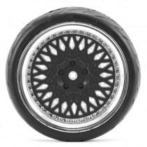 Fastrax 1/10 Street/Tread Tyre Classic Black/Chrome Wheel FAST0098BC