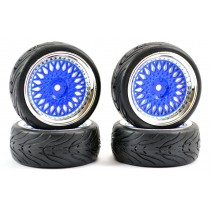 Fastrax 1/10 Street/Tread Tyre Classic Blue/Chrome Wheel FAST0098BLC
