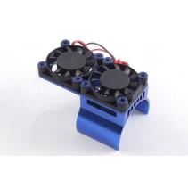 Fastrax Blue Aluminium Twin Fan Motor Heatsink Unit FAST36-1