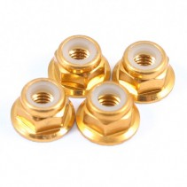Fastrax M4 Gold Flanged Locknuts 4pcs FTM4GF
