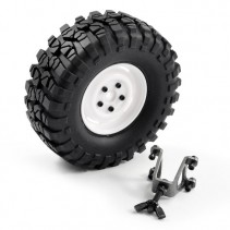 FTX OUTBACK SPARE TYRE MOUNT & TYRE/STEEL LUG WHEEL WHITE FTX8250W