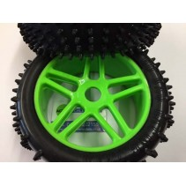 HoBao Directional Spike Tyre Set (4) Mounted Green HFR03F-MG