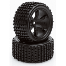Helion Black Wheels/Tyres 1:12 HLNA0487