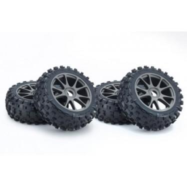 Kyosho KC Tyres on Neo 3.0 Wheels Gun Metal (4) K.IFTH004GMKC