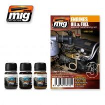 MiG Engines Oil & Fuel Enamel Weathering Set MiG7402