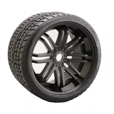 Sweep Road Crusher Belted Tyre On Black 17mm Wheels 1/4 Offset SRC0001B