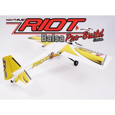 Max Thrust pro-built balsa riot kit yellow ic or elec 1-mt-balsa-riot-y